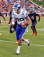 Duke tight end Braxton Deaver (89) Duke defeated Virginia 35-22 at Scott Stadium in Charlottesville, VA. . Photo/Andrew Shurtleff