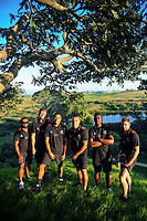 From left, NZ Sevens' Tomasi Cama, Scott Curry, Sione Molia, Teddy Stanaway, Joe Ravouvo and Kurt Baker. 2018 Hamilton Sevens teams visit Hobbiton in Matamata, New Zealand on Tuesday, 30 January 2018. Photo: Dave Lintott / lintottphoto.co.nz