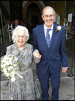BNPS.co.uk (01202 558833)<br /> Pic: AnthonyOliver/BNPS<br /> <br /> Newlyweds Margaret(92) and Rob (91) leaving the Minster.<br /> <br /> A couple with a combined age of 183 have tied the knot to become Britain's oldest newlyweds.<br /> <br /> Rob Cave, 91, and 92-year-old Margaret James, a former actress who appeared in the classic romance film Brief Encounter, wed in front of 150 friends and family at Wimborne Minster in Dorset.<br /> <br /> The church-going couple have known each other for over 30 years but became an item after their respective spouses died within three months of each other in 2015.<br /> <br /> They consoled each other to begin with and from seeing each other every day, their friendship developed into a romance.