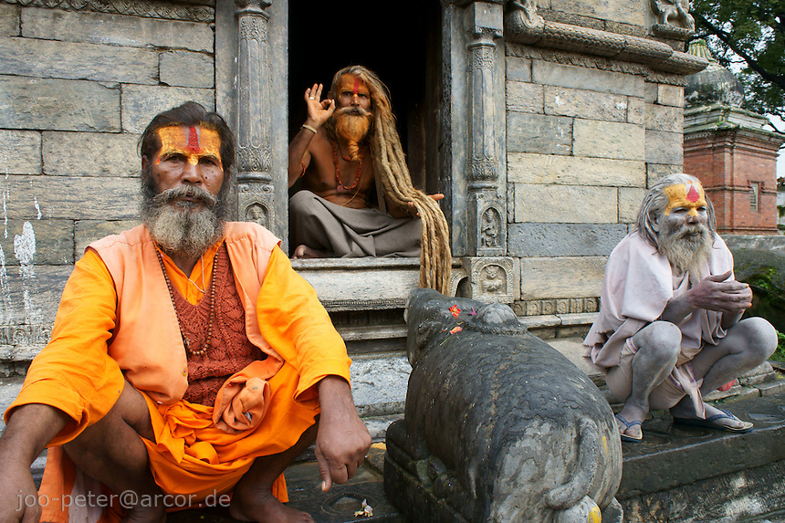 sadhus in Pashupatinath, Kathmandu, Nepal, September 2011. Followers of Ram (Rama, incarnation of Vishnu), next supreme god Shiva, who is mainly adored in Pashupatinath)