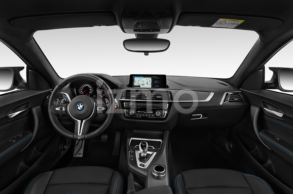 Stock photo of straight dashboard view of a 2019 BMW m2 competition Base 2 Door Coupe