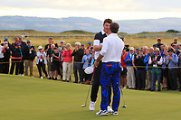 Thomas Sloman (GB&I) wins on the 18th green during Day 2 Singles at the Walker Cup, Royal Liverpool Golf CLub, Hoylake, Cheshire, England. 08/09/2019.<br /> Picture Thos Caffrey / Golffile.ie<br /> <br /> All photo usage must carry mandatory copyright credit (© Golffile | Thos Caffrey)