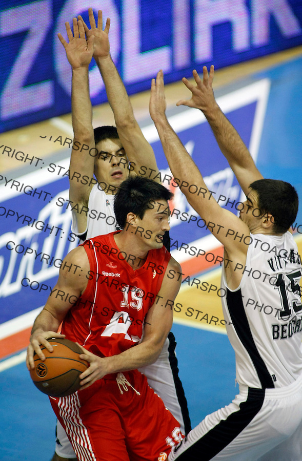 Kosarka, Euroleague, season 2007/08.Partizan Vs. Armani Jeans (Milano).Joey Beard, center, Milenko Tepic, left and Cedomir Vitkovac.Beograd, 05.11.2008..foto: Srdjan Stevanovic/Starsportphoto.com ©