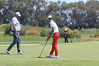 Thomas Bjorn (DEN) and Eunshin Park (KOR) on the 8th green during Round 3 of the Rocco Forte Sicilian Open 2018 played at Verdura Resort, Agrigento, Sicily, Italy on Saturday 12th May 2018.<br /> Picture:  Thos Caffrey / www.golffile.ie<br /> <br /> All photo usage must carry mandatory copyright credit (&copy; Golffile   Thos Caffrey)
