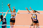 Anna Danesi of Italy (C) blocks Fang Duan of China (L) during the FIVB Volleyball Nations League Hong Kong match between China and Italy on May 31, 2018 in Hong Kong, Hong Kong. Photo by Marcio Rodrigo Machado / Power Sport Images