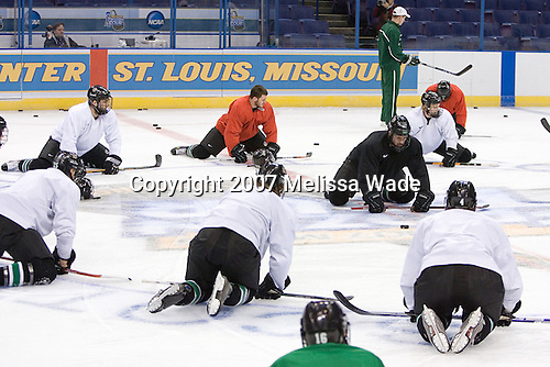The Fighting Sioux practice on Wednesday, April 4, 2007, at the Scottrade Center in St. Louis, Missouri, prior to their Thursday 2007 Frozen Four Semi-Final.