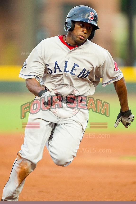 Jackie Bradley Jr. #16 of the Salem Red Sox hustles towards third base against the Winston-Salem Dash at BB&T Ballpark on May 5, 2012 in Winston-Salem, North Carolina.  (Brian Westerholt/Four Seam Images)