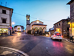Church of the Annunciation, evening in the Tuscany village of Vinci, Italy