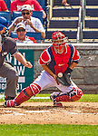 26 July 2013: Washington Nationals catcher Kurt Suzuki blocks a pitch during a game against the New York Mets at Nationals Park in Washington, DC. The Mets shut out the Nationals 11-0 in the first game of their day/night doubleheader. Mandatory Credit: Ed Wolfstein Photo *** RAW (NEF) Image File Available ***