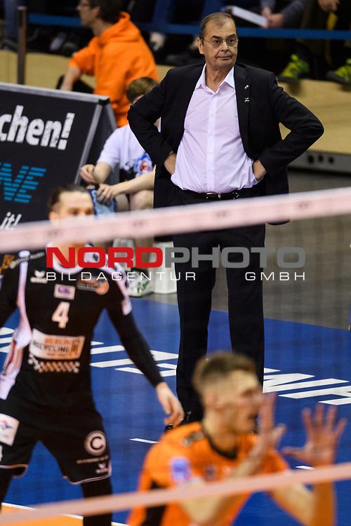 28.02.2018, Max Schmeling Halle, Berlin<br />Volleyball, 2018 CEV Volleyball Champions League, Vorrunde, Berlin Recycling Volleys (GER) vs. Jastrzebski Wegiel (POL)<br /><br />Stelian Moculescu (Trainer / Coach Berlin)<br /><br />  Foto © nordphoto / Kurth
