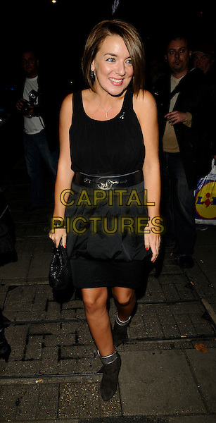 SHERIDAN SMITH .The TVQuick & TV Choice Awards, Dorchester Hotel, London, England..September 8th, 2008.tv quick choice full length black dress boots ankle boots silver clutch bag bracelet .CAP/CAN.©Can Nguyen/Capital Pictures.