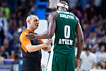 Panathinaikos Chris Singleton talking with referee during Turkish Airlines Euroleague Quarter Finals 4th match between Real Madrid and Panathinaikos at Wizink Center in Madrid, Spain. April 27, 2018. (ALTERPHOTOS/Borja B.Hojas)