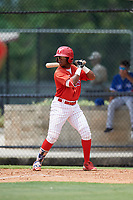 GCL Phillies East third baseman Edgar Made (24) at bat during a game against the GCL Blue Jays on August 10, 2018 at Carpenter Complex in Clearwater, Florida.  GCL Blue Jays defeated GCL Phillies East 8-3.  (Mike Janes/Four Seam Images)