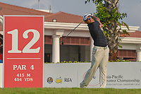 Kshitij Naveed KAUL (IND) watches his tee shot on 12 during Rd 2 of the Asia-Pacific Amateur Championship, Sentosa Golf Club, Singapore. 10/5/2018.<br /> Picture: Golffile | Ken Murray<br /> <br /> <br /> All photo usage must carry mandatory copyright credit (© Golffile | Ken Murray)