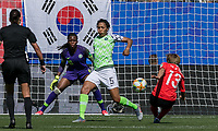 GRENOBLE, FRANCE - JUNE 12: Minji Yeo #13 of the Korean National Team, second half substitute, takes a shot during a game between Korea Republic and Nigeria at Stade des Alpes on June 12, 2019 in Grenoble, France.