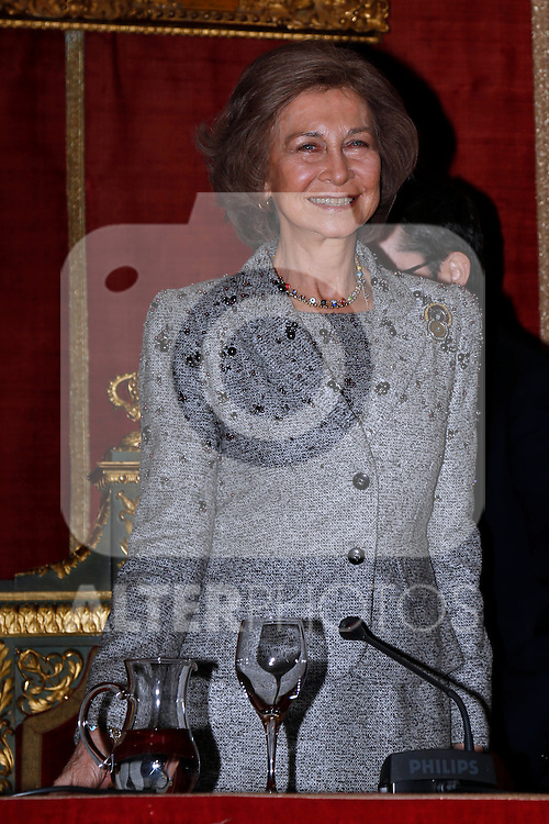 Queen Sofia of Spain attends the 25th Anniversary of the Contemporary Art Collection at Real Academia de Bellas Artes de San Fernando in Madrid, Spain. February 26, 2013. (ALTERPHOTOS/Pool)