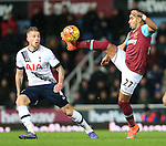 West Ham's Dimitri Payet tussles with Tottenham's Toby Alderweireld<br /> <br /> - English Premier League - West Ham Utd vs Tottenham  Hotspur - Upton Park Stadium - London - England - 2nd March 2016 - Pic David Klein/Sportimage