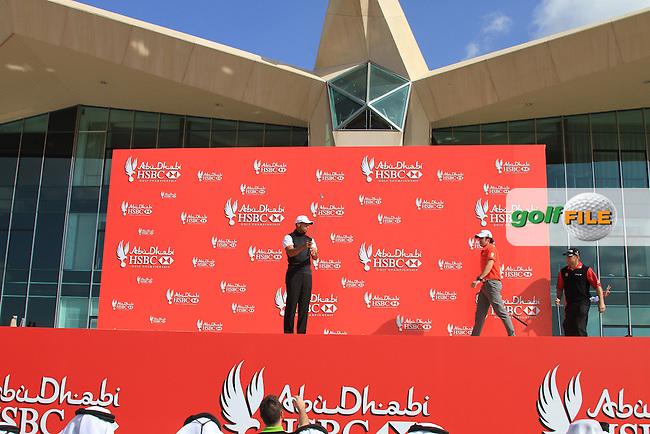 HSBC Golf Championship Abu Dabhi..Rory McIlroy, Lee Westwod and Tiger Woods line up for the start of the Abu Dabhi HSBC Golf Championship, Abu Dhabi GC,Abu Dhabi,United Arab Emirates.Picture Fran Caffrey www.golffile.ie