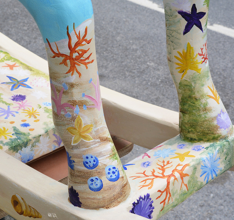 "A view of ""5"" one of the 35 Artist painted Rocking Horses on display around Saugerties, NY as part of the Chamber of Commerce sponsored Art in the Village Project titled ""Rockin' Around Saugerties."" This photo taken on Friday, May 26, 2017. Photo by Jim Peppler. Copyright/Jim Peppler-2017."