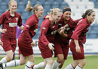 09 MAY 2007 - LONDON, UK - Anna Renken (centre) celebrates her first goal - Loughborough University (Maroon) v Brighton University (Purple) - BUSA Womens Football Championships. (PHOTO (C) NIGEL FARROW)