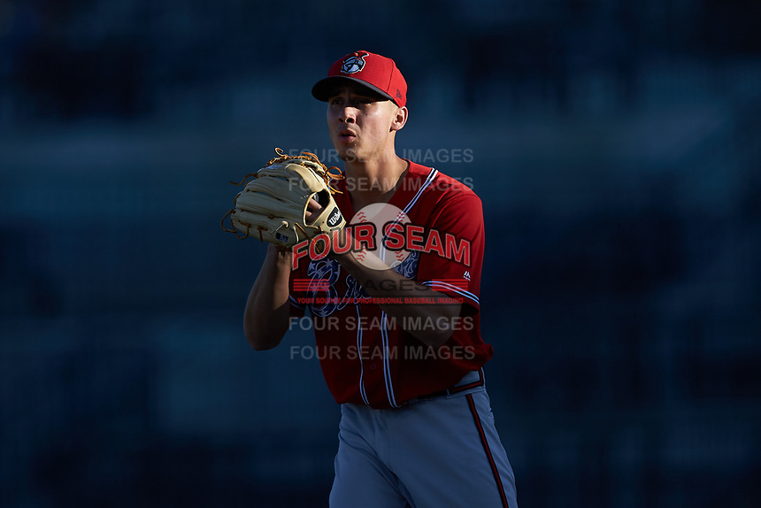 Rome Braves starting pitcher Alan Rangel (55) comes set against the Columbia Fireflies at Segra Park on May 13, 2019 in Columbia, South Carolina. The Fireflies walked-off the Braves 2-1 in game one of a doubleheader. (Brian Westerholt/Four Seam Images)