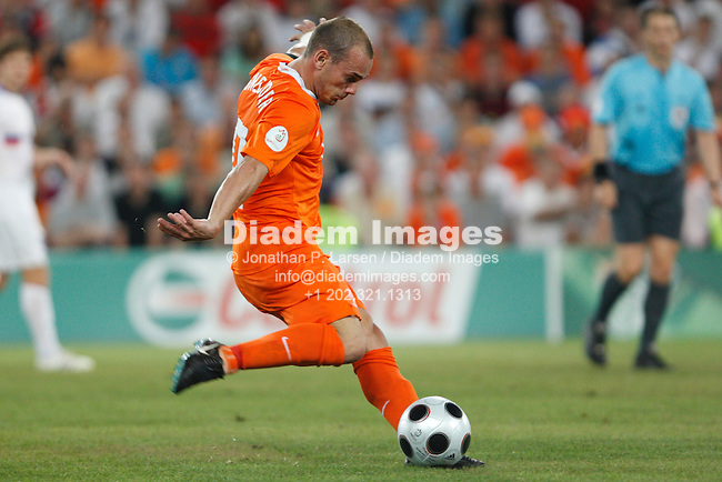 BASEL, SWITZERLAND - JUNE 21:  Wesley Sneijder of the Netherlands tees up a shot against Russia during a UEFA Euro 2008 quarterfinal match at St. Jakob Park June 21, 2008 in Basel, Switzerland.  (Photograph by Jonathan P. Larsen)
