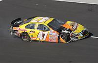 Apr 28, 2007; Talladega, AL, USA; Nascar Busch Series driver Jon Wood (47) drives to the garage after crashing during the Aarons 312 at Talladega Superspeedway. Mandatory Credit: Mark J. Rebilas