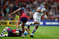 Taulupe Faletau of Bath Rugby takes on the Bristol defence. Gallagher Premiership match, between Bristol Bears and Bath Rugby on August 31, 2018 at Ashton Gate Stadium in Bristol, England. Photo by: Patrick Khachfe / Onside Images