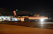 United States President-elect Donald Trump's plane arrives at Ronald Reagan Washington National Airport January 18, 2017 in Washington, DC. PEOTUS will be attending two dinners tonight, the first honoring VPEOTUS Pence at the National Gallery of Art and the second at the Library of Congress honoring his cabinet appointees. <br /> Credit: Olivier Douliery / Pool via CNP