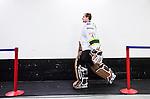 Stockholm 2014-11-16 Ishockey Hockeyallsvenskan AIK - IF Bj&ouml;rkl&ouml;ven :  <br /> AIK:s m&aring;lvakt Alexander Hamberg p&aring; v&auml;g till omkl&auml;dningsrummet i Hovet efter uppv&auml;rmningen inf&ouml;r matchen mellan AIK och IF Bj&ouml;rkl&ouml;ven <br /> (Foto: Kenta J&ouml;nsson) Nyckelord:  AIK Gnaget Hockeyallsvenskan Allsvenskan Hovet Johanneshov Isstadion Bj&ouml;rkl&ouml;ven L&ouml;ven IFB portr&auml;tt portrait inomhus interi&ouml;r interior