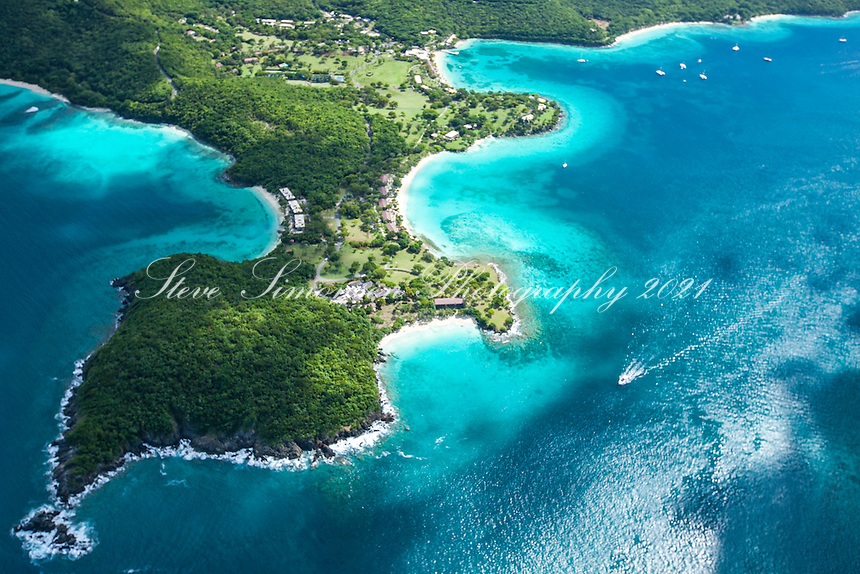 Aerial view of Caneel Bay<br /> Virgin Islands National Park<br /> St. John<br /> U.S. Virgin Islands
