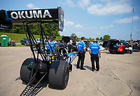 Jun 2, 2019; Joliet, IL, USA; Crew members for NHRA top fuel driver Mike Salinas during the Route 66 Nationals at Route 66 Raceway. Mandatory Credit: Mark J. Rebilas-USA TODAY Sports