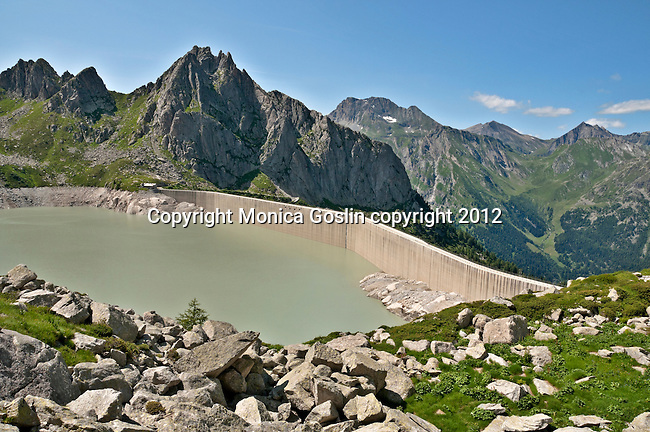 View of the mountains and trees around Albigna Lake at 2,163 meters high and where the Albigna dam hydroelectic station is located