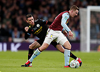 1st March 2020; Wembley Stadium, London, England; Carabao Cup Final, League Cup, Aston Villa versus Manchester City; Phil Foden of Manchester City challenges Matt Targett of Aston Villa - Strictly Editorial Use Only. No use with unauthorized audio, video, data, fixture lists, club/league logos or 'live' services. Online in-match use limited to 120 images, no video emulation. No use in betting, games or single club/league/player publications