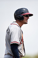 Mississippi Braves catcher Braeden Schlehuber (11) on third during a game against the Montgomery Biscuits on April 22, 2014 at Riverwalk Stadium in Montgomery, Alabama.  Mississippi defeated Montgomery 6-2.  (Mike Janes/Four Seam Images)