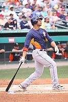 Houston Astros Carlos Pena (12) at bat against the Miami Marlins during a spring training game at the Roger Dean Complex in Jupiter, Florida on March 12, 2013. Houston defeated Miami 9-4. (Stacy Jo Grant/Four Seam Images)........