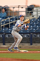 Indiana State Sycamores first baseman Jeff Zahn (35) stretches for a throw during a game against the Vanderbilt Commodores on February 20, 2015 at Charlotte Sports Park in Port Charlotte, Florida.  Vanderbilt defeated Indiana State 3-2.  (Mike Janes/Four Seam Images)