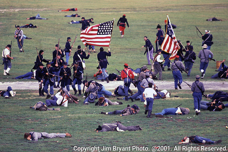 Confederate defenders repel attacking Union forces during the Battle of Fort Morgan, Mobile, Al in 2001.  Ft. Morgan, a critical fortification during the Civil War, was the next-to last fortress to fall as the Civil War ended. Jim Bryant Photo. @2001. All Rights Reserved.