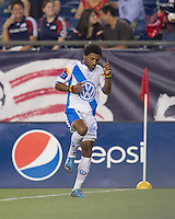 Puebla FC midfielder Andres Olivera (10) does a dance to celebrate his goal. The New England Revolution defeated Puebla FC in penalty kicks, in SuperLiga 2010 semifinal at Gillette Stadium on August 4, 2010.