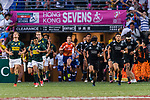 South Africa and New Zealand getting into the field during the HSBC Hong Kong Sevens 2018 Bronze Medal Final match on 08 April 2018 in Hong Kong, Hong Kong. Photo by Marcio Rodrigo Machado / Power Sport Images