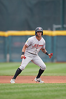 Altoona Curve Bligh Madris (7) leads off second base during an Eastern League game against the Erie SeaWolves on June 5, 2019 at UPMC Park in Erie, Pennsylvania.  Altoona defeated Erie 6-2.  (Mike Janes/Four Seam Images)