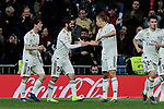 Real Madrid's Francisco Alarcon 'Isco' (L) and Alvaro Odriozola (R) celebrate goal during La Liga match between Real Madrid and SD Huesca at Santiago Bernabeu Stadium in Madrid, Spain.March 31, 2019. (ALTERPHOTOS/A. Perez Meca)
