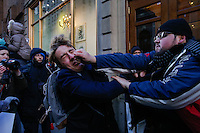 NEW YORK, USA - MARCH 4, Supporters of U.S president Donald Trump fight with protesters during a march to Trump Tower on March 4 , 2017 in New York.  VIEWpress/Eduardo MunozAlvarez