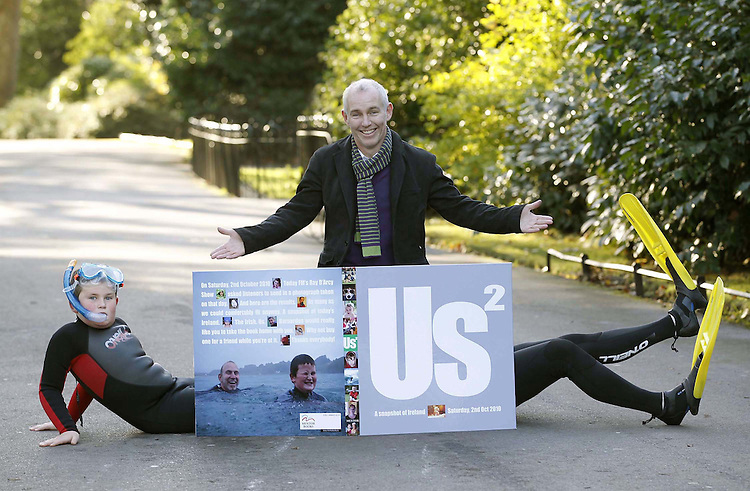No Fee for Repro: .Pictured with Today FM's Ray Darcy celebrating the release of US 2, a pictorial hardback book that recorded a day in the life of Ireland on October 2nd 2010, available in all good book shops next week are  Jacob (age 10) who features in the book. Pic Robbie Reynolds CPR.