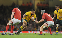 Australia's Allan Alaalatoa is tackled by Wales' Dan Lydiate<br /> <br /> Photographer Ian Cook/CameraSport<br /> <br /> Under Armour Series Autumn Internationals - Wales v Australia - Saturday 10th November 2018 - Principality Stadium - Cardiff<br /> <br /> World Copyright © 2018 CameraSport. All rights reserved. 43 Linden Ave. Countesthorpe. Leicester. England. LE8 5PG - Tel: +44 (0) 116 277 4147 - admin@camerasport.com - www.camerasport.com