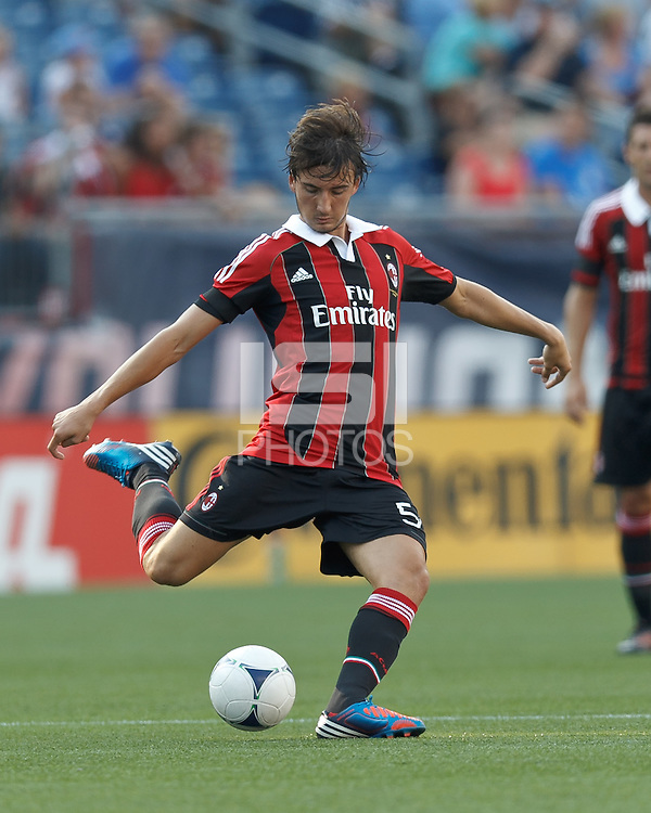 AC Milan substitute midfielder Bryan Cristante (54) passes the ball. In an international friendly, AC Milan defeated C.D. Olimpia, 3-1, at Gillette Stadium on August 4, 2012.