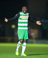 Francois Zoko of Yeovil Town during the Sky Bet League 2 match between Wycombe Wanderers and Yeovil Town at Adams Park, High Wycombe, England on 14 January 2017. Photo by Andy Rowland / PRiME Media Images.