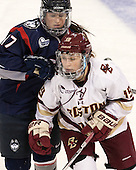 Caitlin Hewes (UConn - 17), Makenna Newkirk (BC - 19) - The Boston College Eagles defeated the visiting UConn Huskies 4-0 on Friday, October 30, 2015, at Kelley Rink in Conte Forum in Chestnut Hill, Massachusetts.
