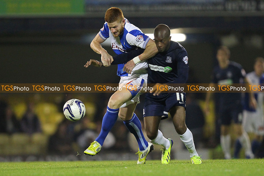 Matt Harrold of Bristol Rovers battles it out with Anthony Straker of Southend United - Southend United vs Bristol Rovers - Sky Bet League Two Football at Roots Hall, Southend-on-Sea, Essex - 27/09/13 - MANDATORY CREDIT: Gavin Ellis/TGSPHOTO - Self billing applies where appropriate - 0845 094 6026 - contact@tgsphoto.co.uk - NO UNPAID USE