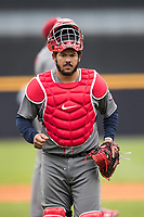 Lehigh Valley IronPigs catcher Jorge Alfaro (24) in action against the Toledo Mud Hens during the International League baseball game on April 30, 2017 at Fifth Third Field in Toledo, Ohio. Toledo defeated Lehigh Valley 6-4. (Andrew Woolley/Four Seam Images)